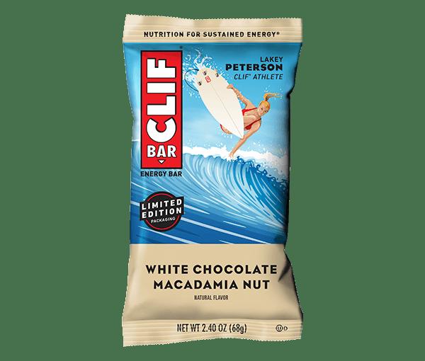 Barrita energética de chocolate blanco, nueces de macadamia y avena ecológica.