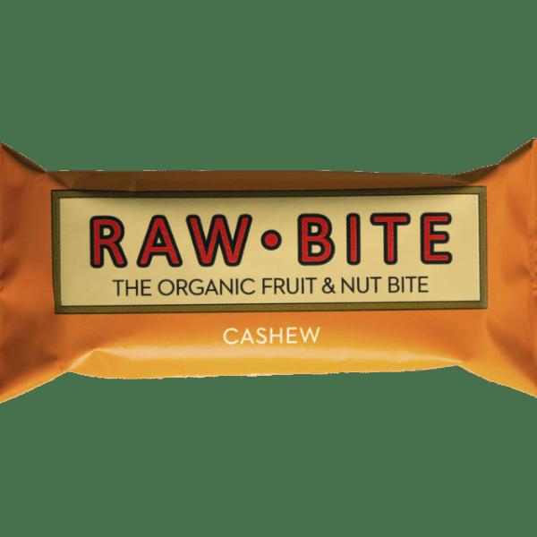 Barrita energética crudivegana de anacardo y dátiles. Es orgánica, no contiene azúcares añadidos ni gluten. Libre de lácteos y de crueldad. De Raw Bite. 50 gramos.