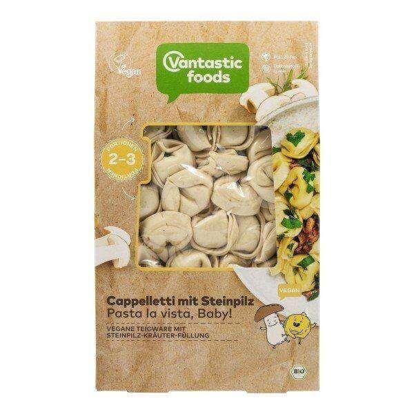 Cappelletti tofu ahumado. Vantastic Foods. 250 gramos. Pasta vegana con relleno de tofu ahumado. De procedencia ecológica. Para prepararla, tan sencillo como cocerla y tomar tal cual, o añadir alguna salsa.