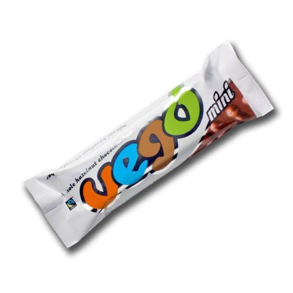 Chocolatina vegana de chocolate y avellanas mini Vego 65 gr