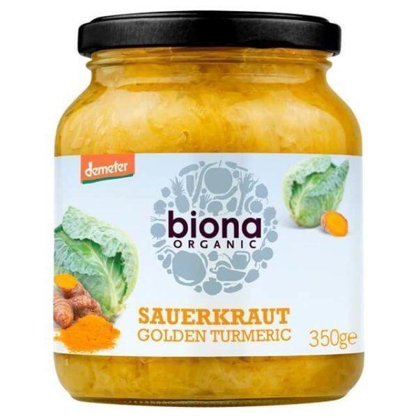 Chucrut vegano orgánico, con jengibre y cúrcuma fresca. Lo puedes combinar con ensaladas, hamburguesas vegetales, parrilladas de verdura y por supuesto, con patatas. De Biona. 350 gramos.