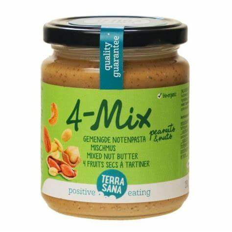 Crema de frutos secos de Terrasana. Con cacahuete, avellana, anacardo y almendra. De agricultura ecológica y certificación orgánica. 250 gramos.