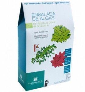 Ensalada de algas deshidratadas de Porto Muiños. 25 gramos.Está compuesta de tres variedades de alaga: wakame, nori y lechuga de mar.