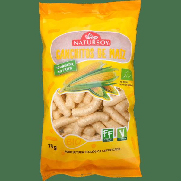 Ganchitos de maíz biológico hechos al horno, sin freír. Producto bio. 75 gramos. De Natursoy.