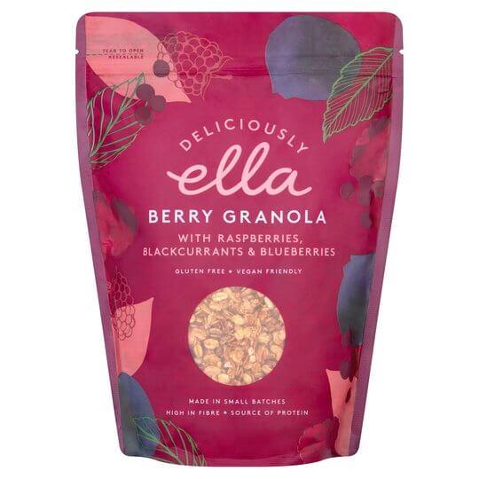 Granola de frutos vegana rojos con jarabe de dátiles, frambuesas, grosellas negras y arándanos. Fuente de proteínas y fibra
