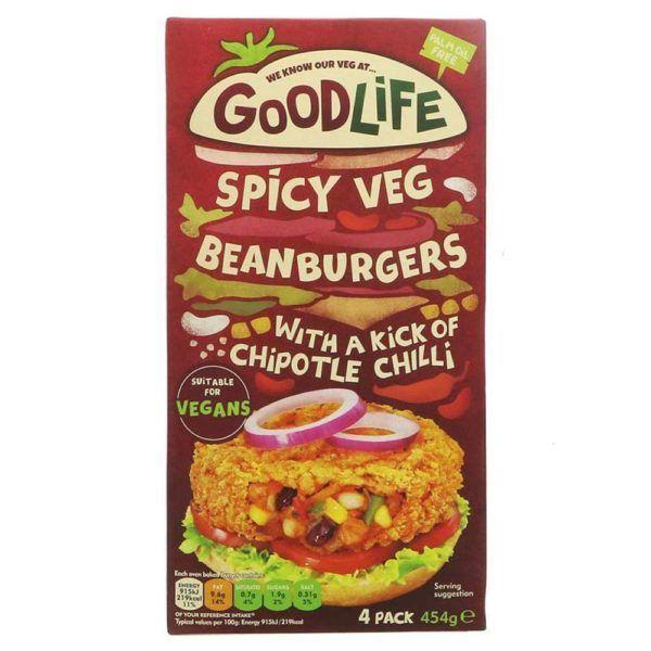 Hamburguesas Goodlife frijoles y chili 4 unidades Spicy Veg Beanburgers