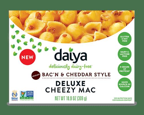 Pasta sin gluten vegana. Macarrones con queso de Daiya y bacon vegano. 300 gramos.