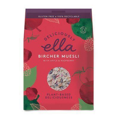 El muesli bircher Está compuesto de manzanas asadas, nueces, avena, pasas y frambuesas.