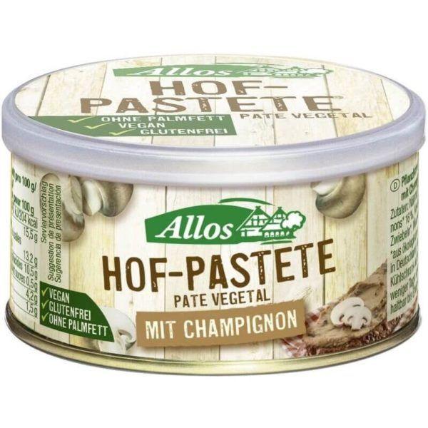 Paté vegetal de champiñón Allos. 100% vegan. Sin azúcar, sin aceite de palma, sin gluten, sin aditivos.