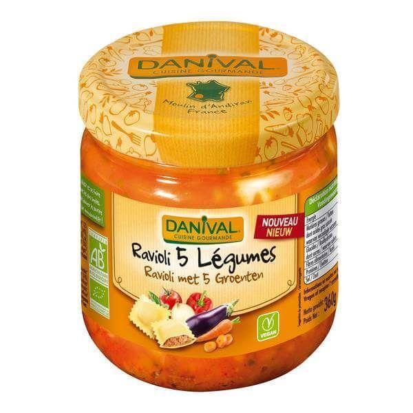 Raviolis con verduras. Danival, 670 gramos. Pasta rellena de verduras lista para calentar y servir. Plato preparado vegano, ecológico y sano.