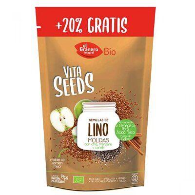 Semillas bio de lino molido, con semillas de chía, manzana y canela. Vita Seeds de El Granero Integral, de cultivo biológico. Alto aporte de omega 2, fibra y fuente de calcio. Sin gluten ni azúcares añadidos.