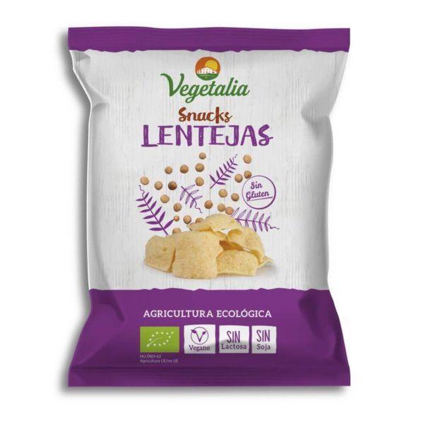 Snack de lentejas para dippear con la salsa vegana que más te apetezca, o para comer así a palo seco Riquísimos, veganos y de agricultura ecológica. Sin gluten, sin lactosa, sin soja. De Vegetalia. 45 gramos.