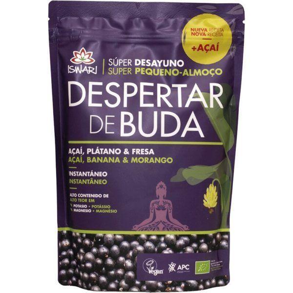 Despertar de Buda acai y plátano y fresa. Es bio y es de Iswari. Una delicia nutricional y super sana.