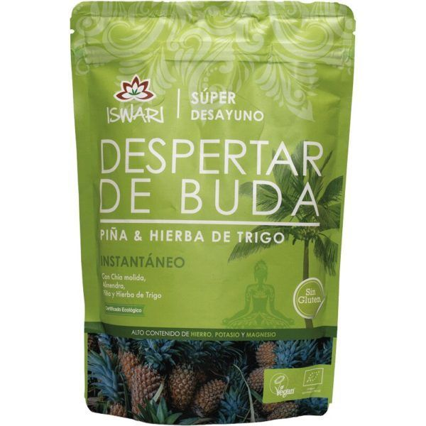 Despertar de Buda piña y hierba de trigo. Es bio y es de Iswari. Una delicia nutricional y super sana. 360 gramos.