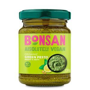 Pesto verde vegano ecológico de Bonsan. 130 gramos. Sin gluten, sin lactosa, sin azúcar refinado, sin aceite de palma. Un espectáculo de sabor.