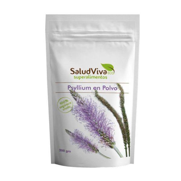 Psyllium ecológico en polvo crudo, de la marca de superalimentos Salud Viva. 200 gramos.