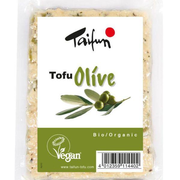 Tofu con aceitunas verdes. Orgánico y de consistencia firme. A las finas hierbas y un toque de limón. De Taifun. 200 gramos.