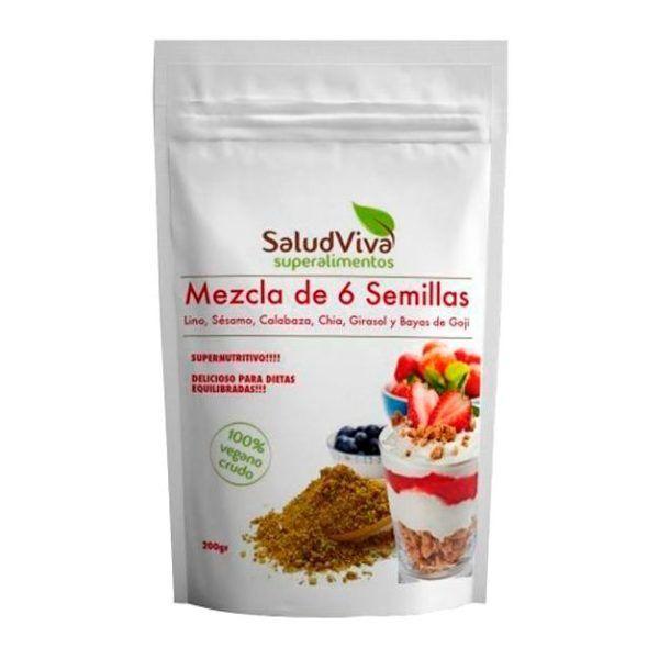 Mezcla 6 semillas Salud Viva. Linaza, calabaza, girasol, sésamo, bayas de Goji, chía y maíz. Un cocktail nutritivo y saludable.