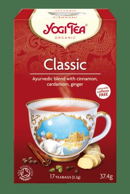 Yogi Tea classic. Una fantástica mezcla de canela dulce, cardamomo, jengibre y pimienta. Caja con 17 bolsitas.
