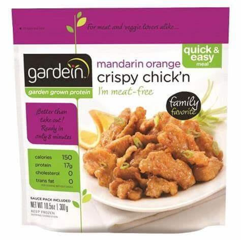 Tiras mandarin orange estilo pollo crujientes de Gardein. 10 unidades de 32 gramos cada una.