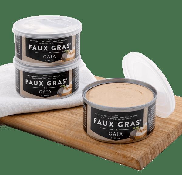 Faux Gras de Gaia es la alternativa vegana al foie-gras. Sutil y delicioso, pero sin someter a tortura a ningún animal. Elaborado con levadura nutricional y champagne bio, entre otros ingredientes.