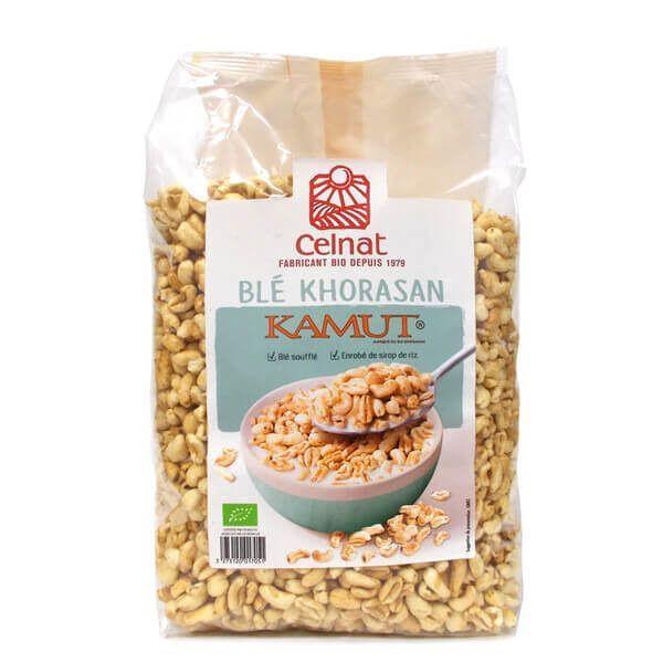 Kamut hinchado bio Celnat 375 gramos. El kamut es una de las variedades de trigo más antiguas conocidas. Comparado con el trigo, presenta mayor concentración de proteínas, lípidos, fibra, minerales y vitaminas. Así mismo, tiene un calibre mayor que el trigo común, y un sabor dulce algo matequilloso y exquisito.