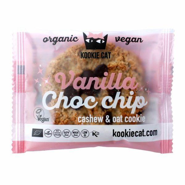 Kookie Cat vainilla y chips de chocolate. Galletas veganas orgánicas elaboradas a base de avena sin gluten y anacardo, con vainilla y chips de chocolate. 50 gramos.