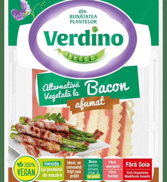 Bacon vegano sin gluten Verdino. Ahumado. Sin gluten. Sin soja. Elaborado a base de proteínas de guisantes de alta calidad.