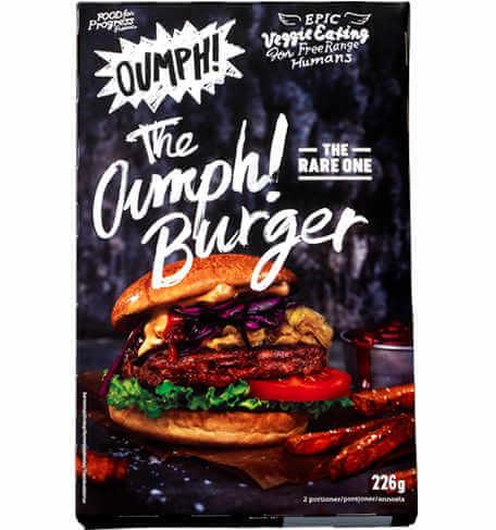 Hamburguesa Oumph 226 gramos (113 gramos cada unidad). Estilo cuarto de libra, pero con sabor barbacoa. Espectacular hamburguesa vegana.