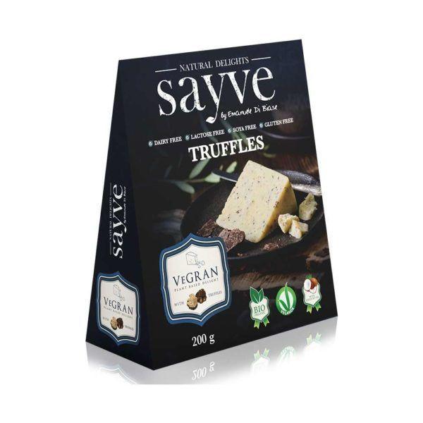 Queso vegano Sayve. Biológico, con un toque a trufa. Perfecta alternativa vegetal de queso curado. Increíble sabor. Ideal para empezar y no parar.