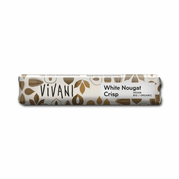 Chocolatina white nougat crisp de Vivani 35 gramos. Chocolatina de chocolate orgánico de la marca Vivani. Elaborado con crema de avellana y mantequilla de cacao con brittle de avellana.
