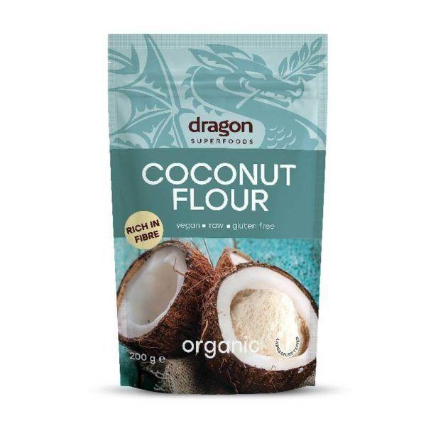 Harina de coco orgánica Dragon Superfoods 200 gramos. La harina de coco es una alternativa saludable y deliciosa a otras harinas procedentes de cereales, como la de trigo o la de maíz. No contiene gluten, es baja en hidratos de carbono, y es rica en fibra y proteína. Está elaborada a partir de carne de coco desgrasada y deshidratada. Es ideal para intolerantes al gluten, celiacos y para aquellas personas que busquen una dieta baja en calorías.