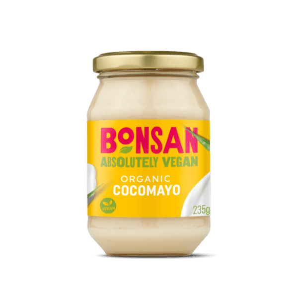 Mayonesa de coco vegana Bonsan 235 gramos. De certificación orgánica. Sin gluten, sin huevos, sin lácteos, sin soja. 100% vegan.