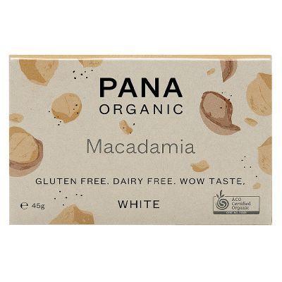 Chocolate blanco orgánico de Pana Chocolate. Con macadamia tostada.