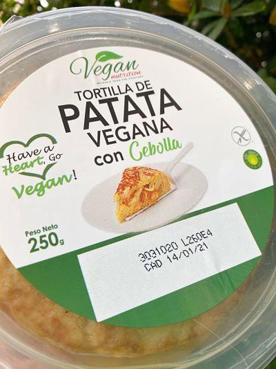 Tortilla de patatas vegana preparada
