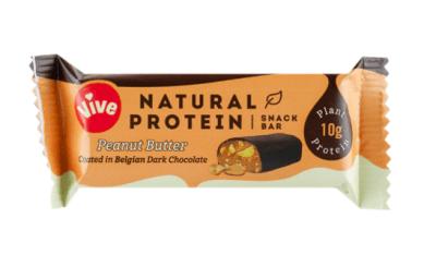 Barrita vegana de crema de cacahuete y chocolate belga