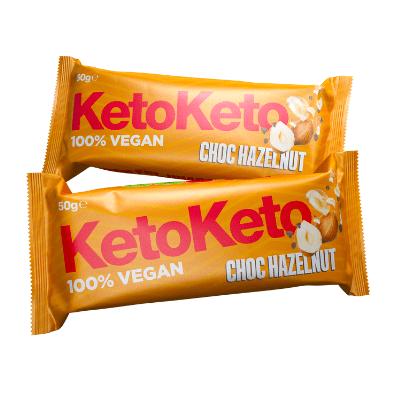 barrita para dieta keto de cacao y avellanas