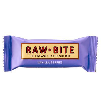 barrita crudivegana de frutos del bosque y vainilla, de Rawbite
